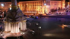 Kiev, Ukraine, Independence Square - timelapse 1 Stock Footage