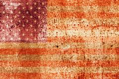 Faded american flag on rusted metal Stock Illustration