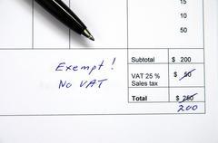 incorrect invoice, vat exempt - stock photo