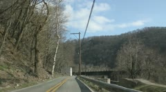 Driving in the Mountains, Clouds Blue Sky  Stock Footage