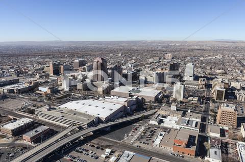 Stock photo of albuquerque new mexico downtown aerial