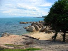 rocky beach, ko samui - stock photo