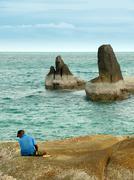 rocky coast, ko samui - stock photo