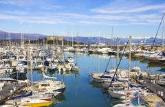 Yachts in the port of Antibes, Cote d'Azur - stock photo