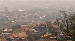 Pan of houses on outskirts of Kathmandu Stock Footage
