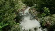 Stock Video Footage of High Angle of a Powerful Flowing Forest River