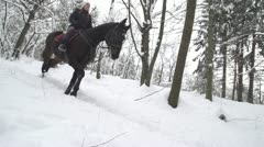 SLOW MOTION: Woman horseback riding in snowy forest Stock Footage