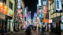 Time lapse of the Kabukicho area of Shinjuku in Tokyo, Japan Stock Footage