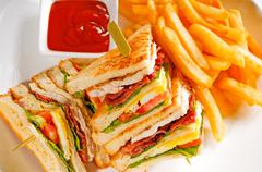 Triple decker club sandwich Stock Photos