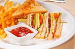 triple decker club sandwich - stock photo