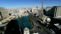 Bellagio Hotel nr Paris Eiffel Tower Hotel, Las Vegas,  USA Stock Footage