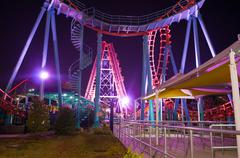 Stock Photo of at the amusement park at night