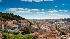 sao jorge castle and baixa panoramic - stock photo