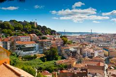 sao jorge castle and baixa - stock photo
