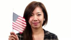 Asian Woman With American Flag - White Background Stock Footage