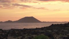 Vulcano silhouette at sunrise Stock Footage