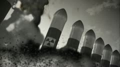 Nuclear Rockets Launch 6 vintage - stock footage