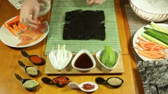 Uramaki Sushi with salmon and avocado Stock Footage