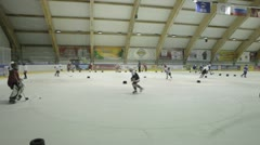 Stock Video Footage of Coaching children's hockey team.