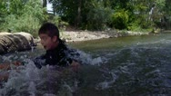 Stock Video Footage of action shot of youth tubing down the river
