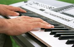 keyboard player - stock photo