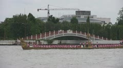 A Royal Barge on the Chaopraya River p129 Stock Footage