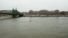 4K River Danube Liberty Bridge Winter Budapest Hungary Timelapse Stock Footage