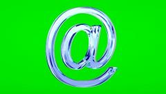 Blue glass e-mail symbol loop rotate on green chromakey background Stock Footage
