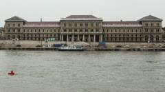 Corvinus University River Danube Winter Budapest Hungary Timelapse 1 Stock Footage