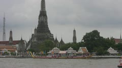 A Royal Barge Arrives at Wat Arun p127 Stock Footage