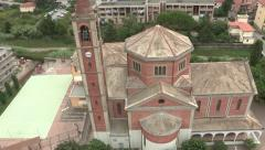 Aerial view of church tower Stock Footage