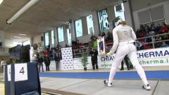 Championship fencing match Stock Footage