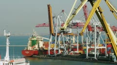 Cargo ship moored at trading port Stock Footage