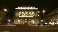 Opera Budapest Hungary at Night 1 Stock Footage