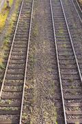 dual railway tracks - stock photo