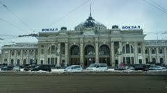 City traffic timelapse near main railway terminal in Odessa, Ukraine Stock Footage