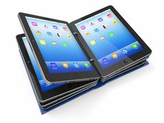 Opened book or folder from tablet pc Stock Illustration