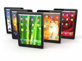 Group of digital tablet pc with different screen backgrounds Stock Illustration