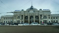 City traffic timelapse near main railway terminal in Odessa, Ukraine, 4K Stock Footage