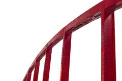 Red steel arc of bridge isolated on white Stock Photos