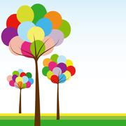 abstract springtime rainbow color tree - stock illustration