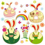 set of colorful rabbit and springtime floral - stock illustration