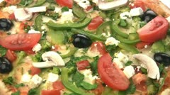 Vegetarian pizza close-up Stock Footage