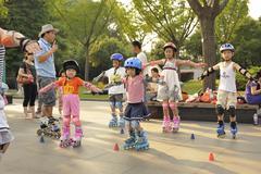 Skate lesson in Shanghai - stock photo