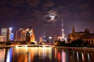 Stock Photo of Shanghai skyline by night