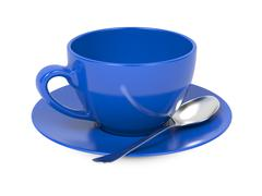 Cup with Spoon and Saucer. - stock illustration