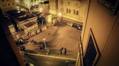 Timelapse - square at night in rome Stock Footage