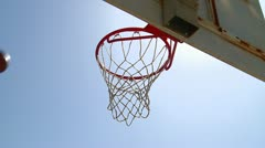 Basketball basket thru hoop Stock Footage
