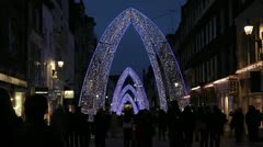 London Xmas 2012 South Molton Street Lights Stock Footage