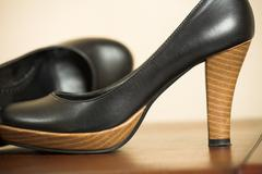 black highheel shoes - stock photo